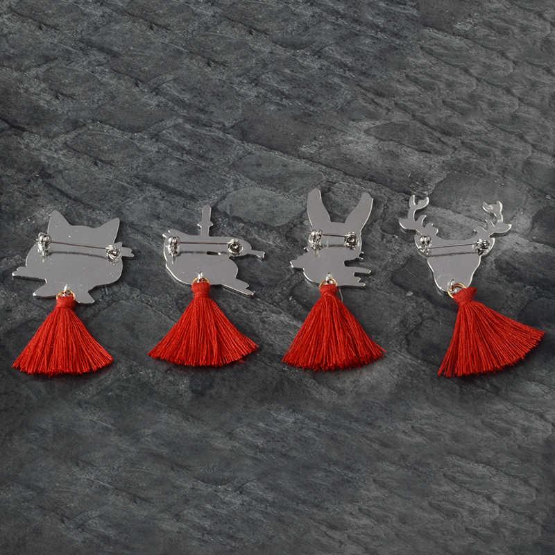 Geki ninja maska pin japoński Deer królik wąż Fox emalia szpilki broszki odznaki czerwone frędzle przypinka śliczne biżuteria dla zwierząt prezent