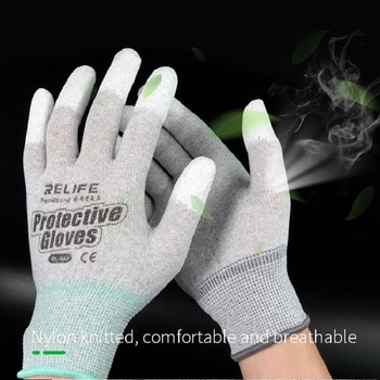 RL-063 Anti static Working Gloves ESD Electronic Repair Gloves PU Coated Finger Protect Gloves For Computer Phone Refurbishment dt 17n handheld digital multimeter lcd backlight manual portable auto range ad dc voltmeter ammeter ohm voltage test multimeter