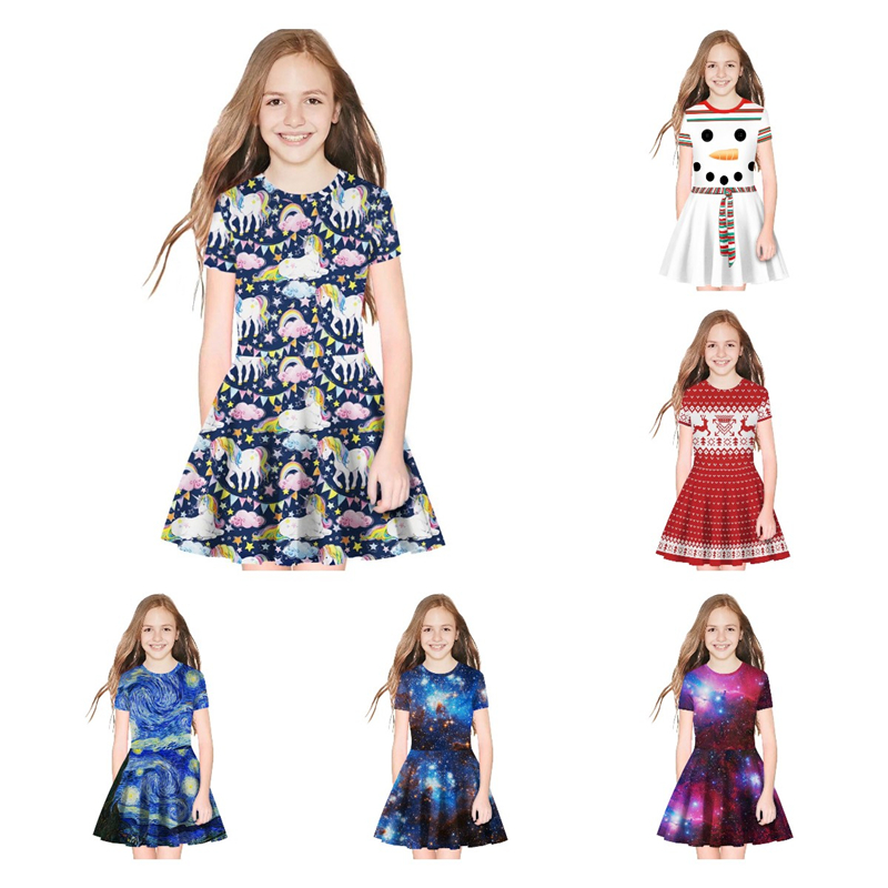 Summer Princess Dress 7-12 Years Big Kids Baby Girl Child Short Sleeve Pullover Butterfly Print T-Shirt Clothes