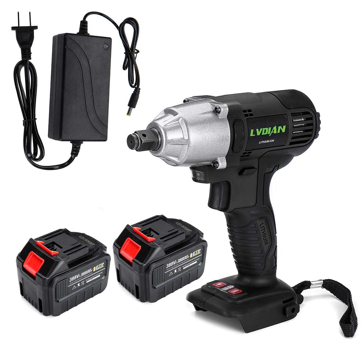 1/2 Electric Wrench 388VF Cordless Electric Impact Wrench Driver Hand Drill 330Nm 38800mAh 2-Battery Power Tool