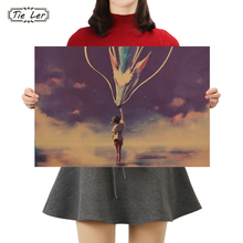 TIE LER Nostalgia Kraft Paper Poster Cafe Bar Poster Retro Wall Stickers For Kids Rooms