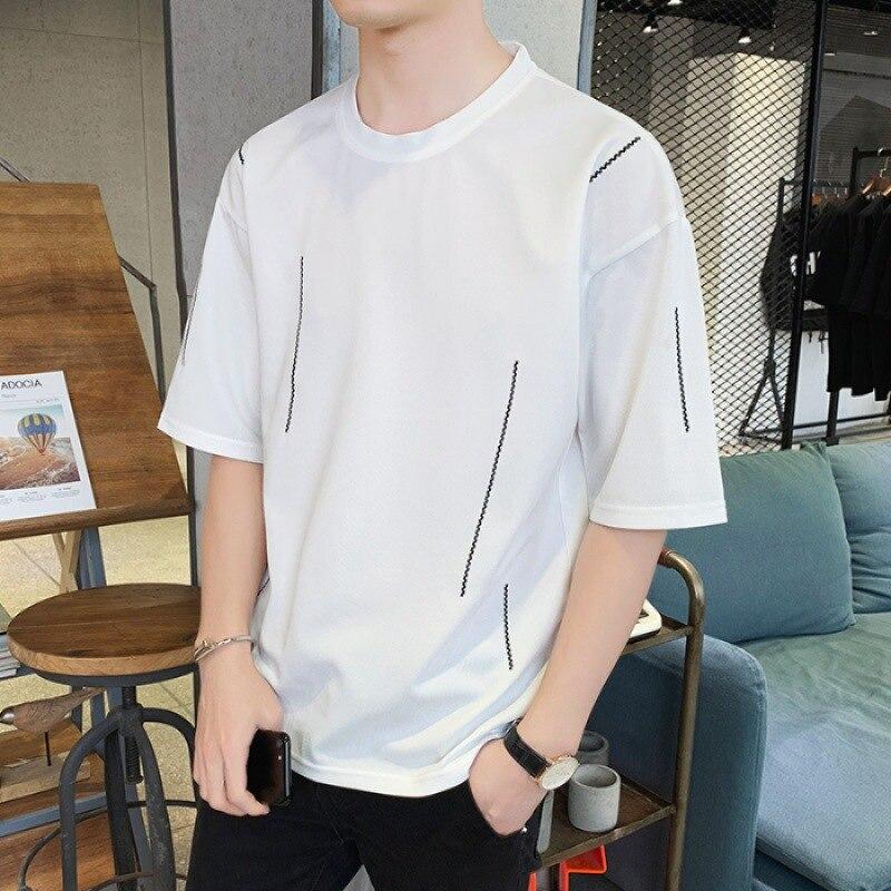 Summer New Style T-shirt MEN'S Short Sleeve Korean-style Trend White Half Length Half Sleeve On Clothes Men T-shirt MEN'S Wear T