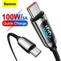 Baseus 100 Вт USB Type C к USBC PD кабель для Xiaomi Samsung Быстрое Зарядное устройство USB C кабель для Macbook iPad Pro планшета ноутбука провод шнур