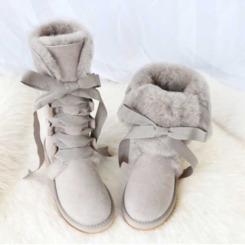 GY&YY Knee-high Genuine Sheepskin Leather Snow Boots Australia G Boots Lace Wool Boot Sheep Fur Women Winter Warm Flat Shoes