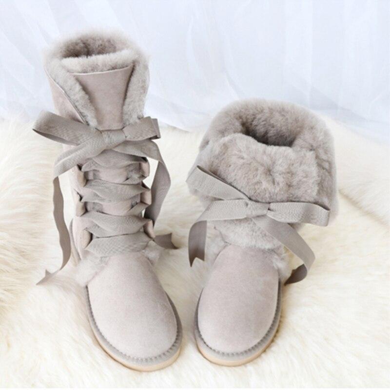 GY & YY genou haute en cuir de mouton véritable bottes de neige australie G bottes dentelle laine botte fourrure de mouton femmes hiver chaud chaussures plates