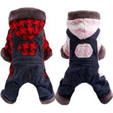 цена на Thicken Small Dog Clothes Dogs Jumpsuit Houndstooth Plaid Warm Winter Overalls for Dogs Hood Fleece Pocket Teddy Clothing