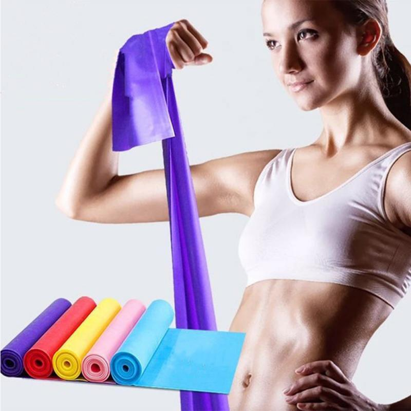 1.5M Yoga Pilates Rubber Stretch Strap Yoga Resistance Bands Gym Equipment Elastic Sports Bands Exercise Strap Fitness Belt