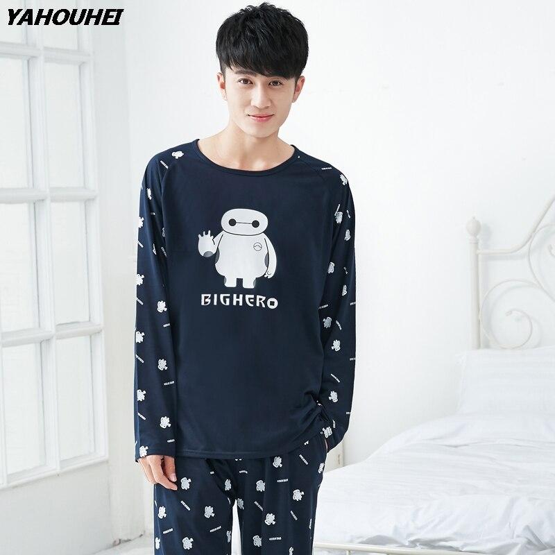Высококачественные повседневные хлопковые Пижамные комплекты для мужчин; коллекция 2018 года; сезон осень-зима; пижама с длинными рукавами;