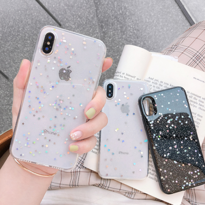 H39dc947e5f354623a57d4dc47c5d1db2c - Ottwn Glitter Phone Case For iPhone 11 Case 11 Pro XS Max XR X 6 6s 7 8 Plus Love Heart Star Sequins Soft Bling Clear Cover Capa