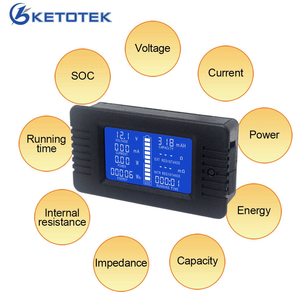 DC Voltmeter Ammeter 0-200V 10A/50A/100A/200A/300A Power Energy Meter Inpedance Capacity Running Time SOC Monitor