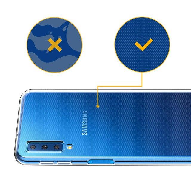Étuis en Silicone Transparent pour Samsung Galaxy A7 2018 étui de luxe couverture souple caméra de protection téléphone Coque arrière A72018 A750