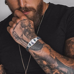 Image 1 - CARBON FIBER BRACELET FOR MEN BIO STAINLESS STEE PERSONALIZED CUSTOM BRACELETS ASSORTED STYLE GIFT FOR DAD HASBAND