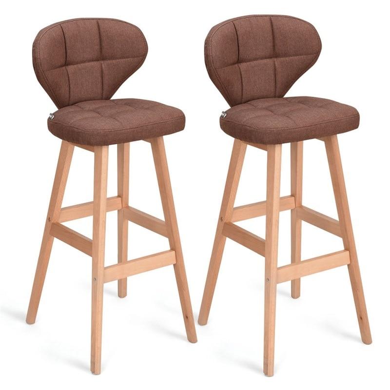 Set Of 2 Brown Bar Stools Pub Chair Fabric High Quality Ergonomically Design Comfortable Backrest Wood Bar Stools HW59505