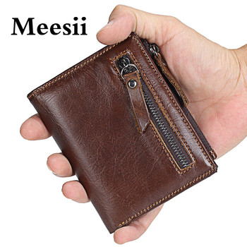 Meesii Genuine leather Blocking Wallet Leather wallet Coin Pocket Passport short Purse Cover For Men Card Holder leather Purse