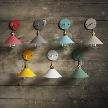 IWHD Nordic Retro Vintage Wall Light Fixtures Colorful Shade Edison LED Wall Lamp Style Loft Industrial Wall Sconce Lamparas nordic loft style industrial vintage wall lamp edison wall sconce adjustable metal wall light fixtures for home lighting