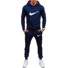 New mens sports hoodie suit solid color brand sportswear two-piece spring and autumn fitness clothing