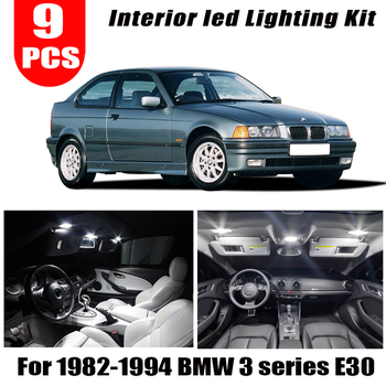 9pcs LED Interior Lights Kit + License plate bulb for 1982-1994 BMW 3 series E30 M3 316i 318i 318is 320is 324td 325i image