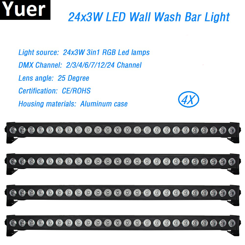 4Pcs/Lot 24x3W Led Wall Washer Light RGB Led Bar Lights Aluminum Case DMX512 2/4/6/7/12/24 Channels Led DJ Disco Stage Light