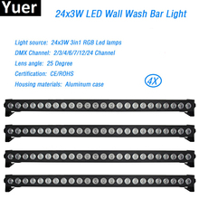 Wash Barra de luces Led de pared RGB, 24x3W, caja de aluminio DMX512, 2/4/6/7/12/24 canales, 4 unidades por lote