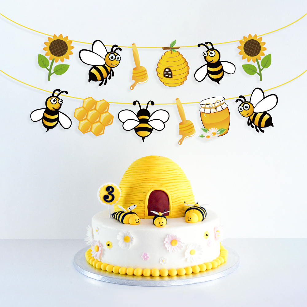 Baby Shower Yellow Honey <font><b>Bee</b></font> <font><b>Party</b></font> Decorations Kids Birthday <font><b>Parties</b></font> Favors Sunflower Hanging Bunting Banner <font><b>Party</b></font> <font><b>Supplies</b></font> image