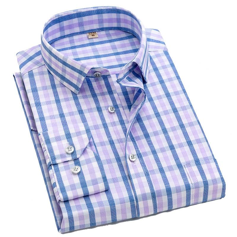 2019 New Men Casual Plaid Shirt High Quality 100% Cotton Long Sleeve Male Shirts Square Grid Social Business Casual Shirt