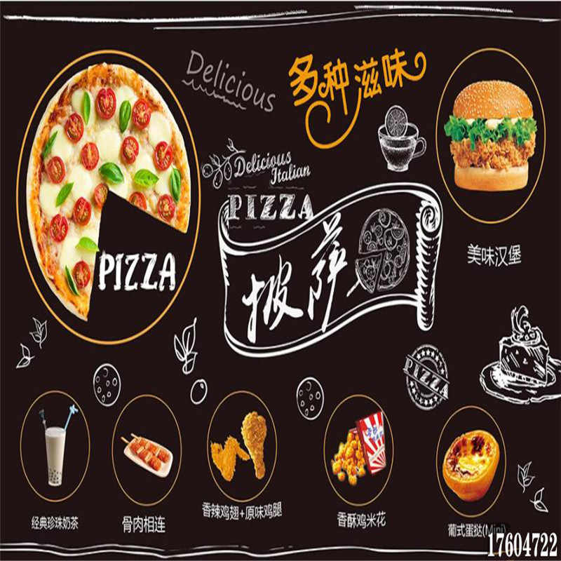 Delicious Pizza Western Restaurant Blackboard Background Wallpaper Custom Words Mural Fast Food Industrial Decor Wall Paper 3d Wallpapers Aliexpress