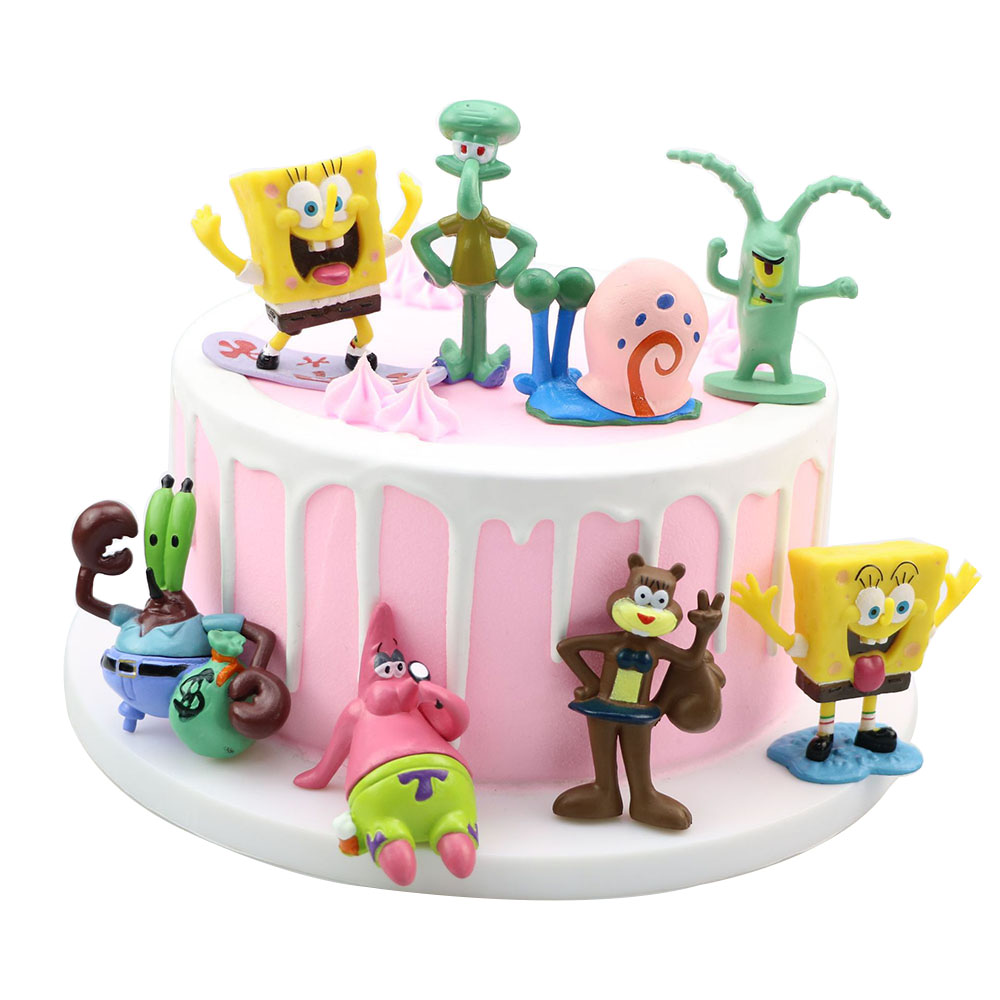 8PCS SpongeBob-Anime Figure Children Toys Hand Doll Cake Decoration Ornaments Cartoon Animals Children's Birthday Gift