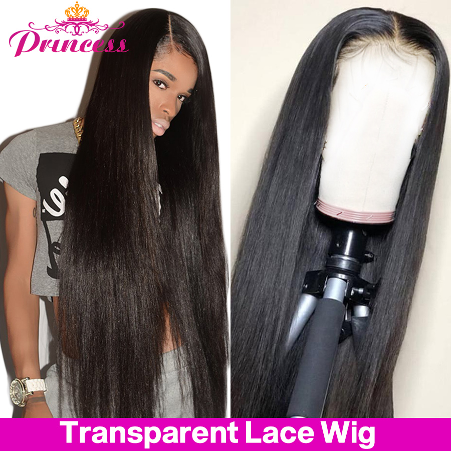 Hermoso pelo de la princesa HD transparente 13x4 frente de encaje pelucas de cabello humano Pre arrancado brasileño recto peluca Frontal de encaje Remy