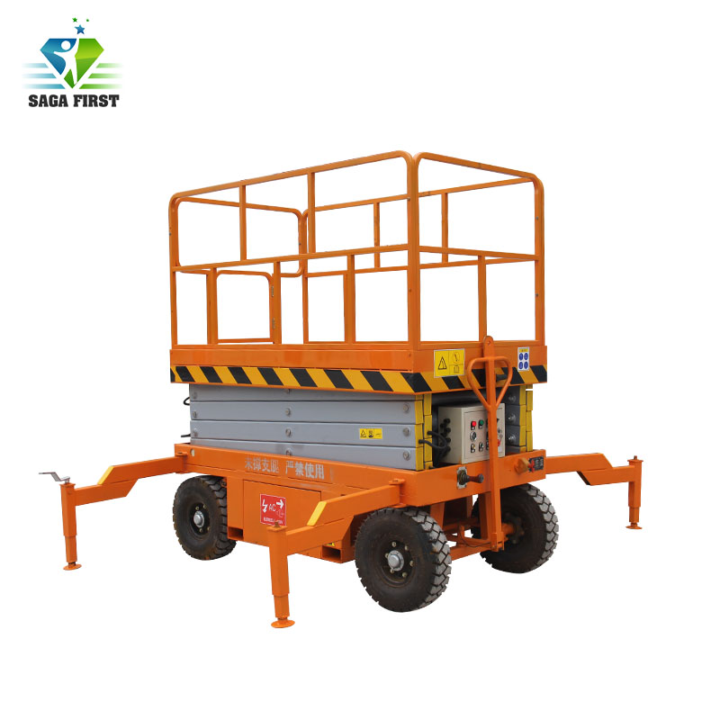 Four Wheel Truck-Pulled Mobile Scissor Lift