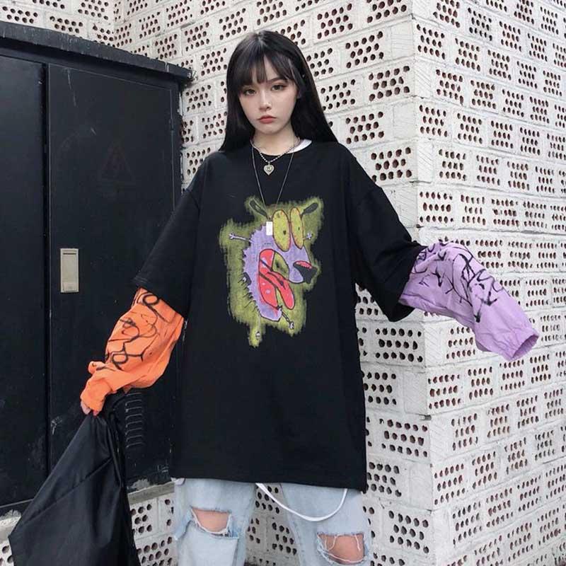 NiceMix Fake Two-piece T-shirt Harajuku T Shirt Printing Casual O-neck Camo Tshirt Women Loose Long-sleeved Top Women Tee Shirt
