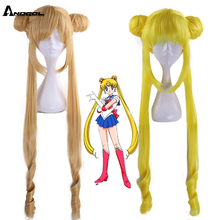 Anogol Brand New Sailor Moon Tsukino Usagi Long Curly Blonde Double Ponytail Synthetic Cosplay Wig For Girls Costume Party