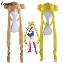 Anogol Peluca de pelo sintético para disfraz de Sailor Moon Tsukino Usagi, Cosplay de cola de caballo doble de color rubio rizado largo para fiesta de disfraces de niña