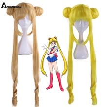 Anogol yepyeni Sailor Moon Tsukino Usagi uzun kıvırcık sarışın çift at kuyruğu sentetik Cosplay peruk kız kostüm partisi