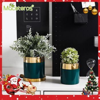 Nordic Minimalist Phnom Penh Dark Green Ceramic Flower Pot Creative With Tray Succulent Gardening Decoration Supplies