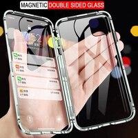 360 custodia in metallo ad adsorbimento magnetico per iPhone 12 11 Pro XS Max X XR 12 Mini 7 8 6s Plus SE 2020 Cover magnetica in vetro a doppia faccia