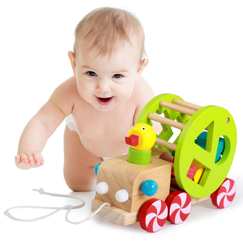 Kids Cute Wooden Duckling Pull Along Cart Wheels Block Building Toy Early Learning Education Toys For Children Shape Cognition