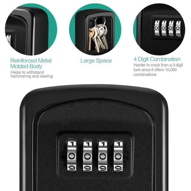 ORIA Password Key Box Decoration Key Code Box Key Storage Lock Box Wall Mounted Password Box Outdoor Key Safe Lock Box 5