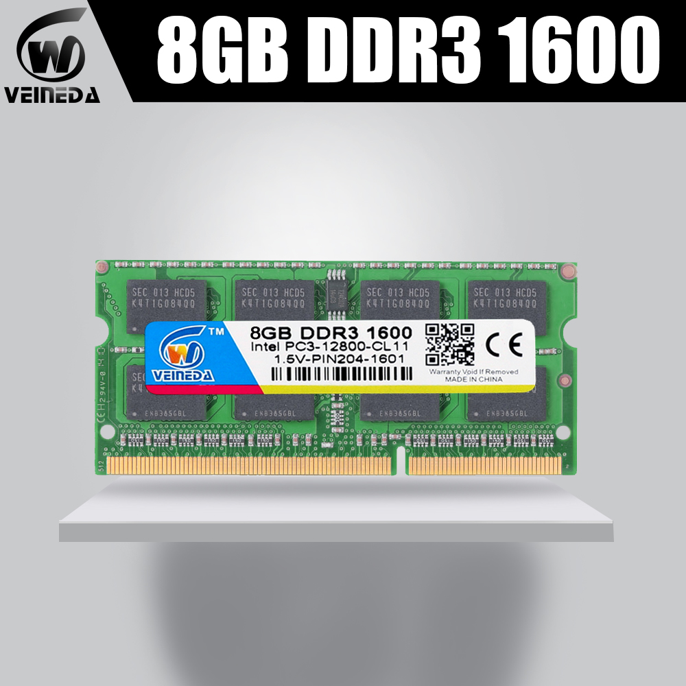 VEINEDA <font><b>Memoria</b></font> ram <font><b>ddr3</b></font> 2GB sodimm <font><b>ddr3</b></font> <font><b>1600</b></font> <font><b>4GB</b></font> 8GB ram memory For Intel AMD laptop <font><b>ddr3</b></font> 2gb <font><b>4gb</b></font> 8gb Sodimm 1600Mhz 204pin image
