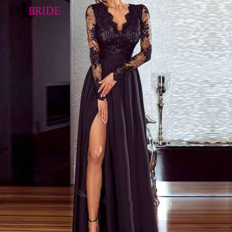 Black Sexy   Evening     Dresses   Fashion High Bifurcate   Evening   Gowns for Women Elegant Robe De Soiree Special Occasion   Dresses   ES2626