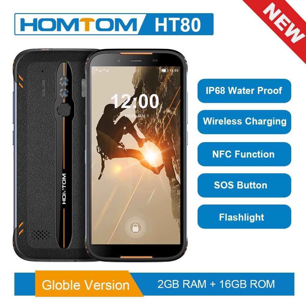 Versión Global HOMTOM HT80 IP68 impermeable Smartphone Android 10,0 de 5,5 pulgadas MT6737 Quad Core NFC de carga inalámbrico SOS teléfono móvil Original honor 8C 6.26in reconocimiento facial Snapdragon 632 Octa core frente 8.0MP dual cámara trasera 4000 mAh 3 tarjetas ranura