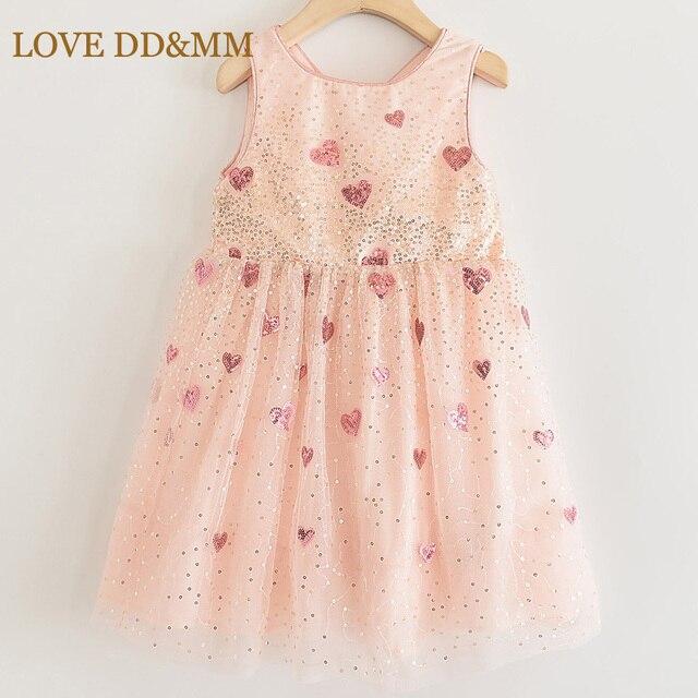الحب DD & ملليمتر الفتيات فساتين 2020 الصيف جديد ثوب أطفال بنات الحب التدرج الترتر شبكة أكمام فستان الأميرة الحلو