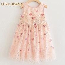 LOVE MM DD & vestidos para niñas, novedad de verano, ropa infantil para niñas con malla de lentejuelas degradada de amor, vestido de princesa dulce sin mangas 2020