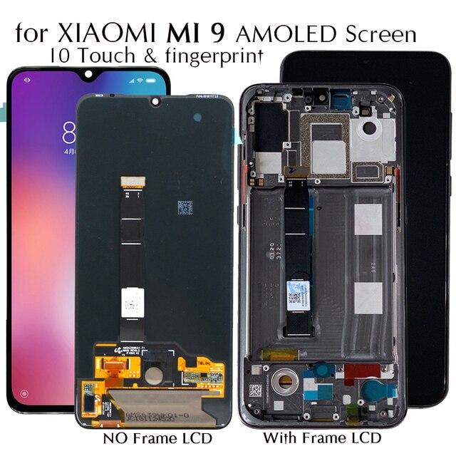 AMOLED Display Für Xiaomi Mi 9 Mi9 LCD Display 10 Touch Screen Ersatz Getestet Handys Telefon LCD Screen + Digital fingerprint