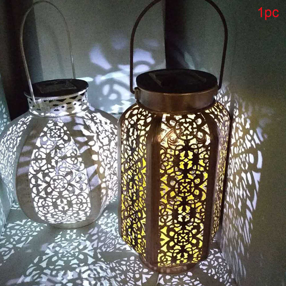 Retro Taman Tenaga Surya Pemandangan Lampu Grow Hollow Daun Maple Bayangan Lentera Menggantung Hollow Outdoor Tahan Air Lampu Solar Lampu