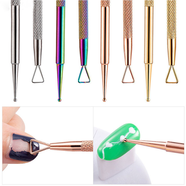1PC Rose Gold Colorful Chameleon Dual-ended Stainless Steel UV Gel Remover Nail Cuticle Pusher Dotting Pen Nail Art Tools