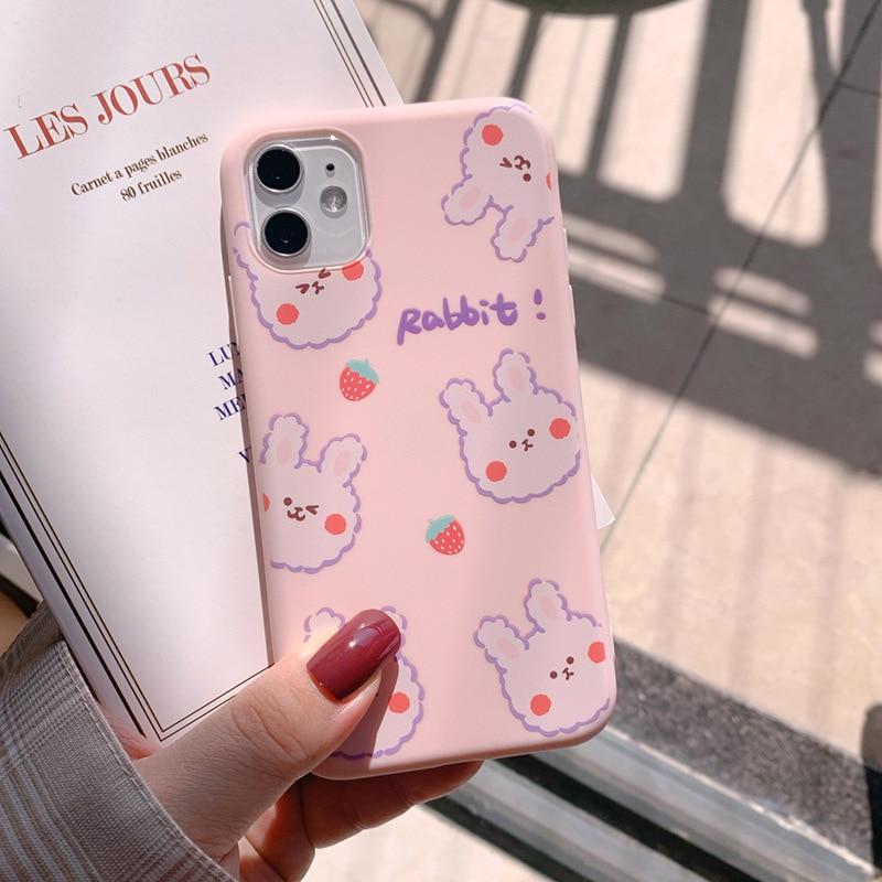 2020 Cute Pink Strawberry Rabbit Phone Case For Iphone 11 11PROMAX 11PRO 6 6S 7 8 6S Plus 7Plus 8Plus X XS XSMAX XR Soft Case