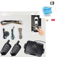 Mobile Phone Remote Start car Alarm System With 2 Remote Control 80 100M Shake Switch Lock Keyless Entry PKE Start Stop