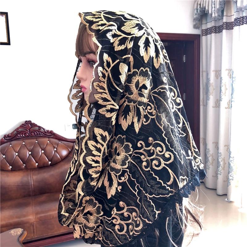 Popular Black Women's Catholic Veil Mantillas Veil Jerusalem Muslim Elegant Ladies Floral Voile Dentelle Shawl Scarf Church Cape