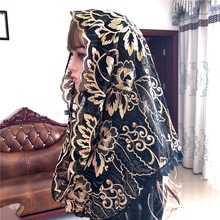 Popular Black Womens Catholic Veil Mantillas Veil Jerusalem Muslim Elegant Ladies Floral Voile Dentelle Shawl Scarf Church Cape
