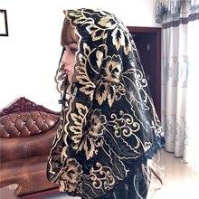 Popularny czarny damski katolicki welon mantille welon jerozolima muzułmańskie eleganckie damskie kwiatowy woal Dentelle szalik kościół Cape